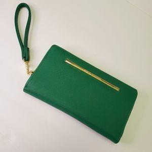 Steven Madden Green Gold Zipper Wallet